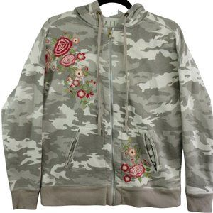 Caite Neutral Camouflage Floral Embroidered Zip Up